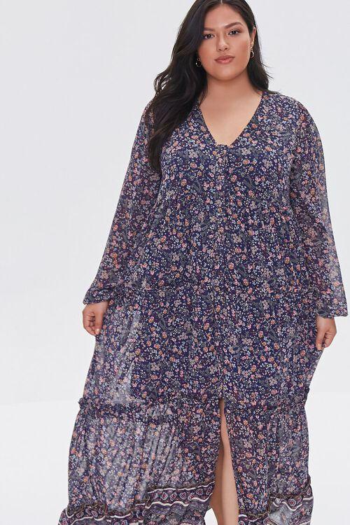 NAVY/MULTI Plus Size Chiffon Floral Maxi Dress, image 4