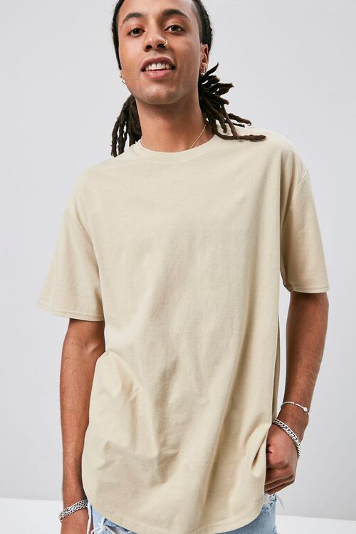 Scoop-Hem Crew Neck Tee, image 1