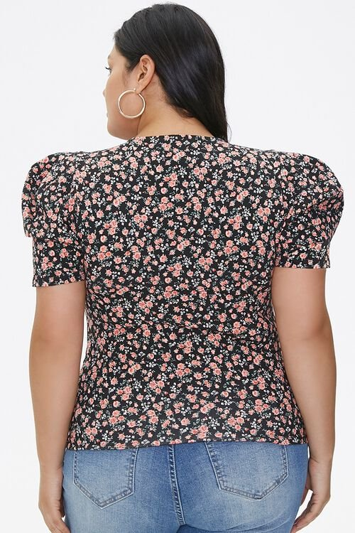 Plus Size Floral Puff-Sleeve Top, image 3