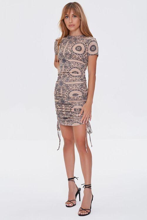 CAMEL/BLACK Ornate Bodycon Mini Dress, image 4
