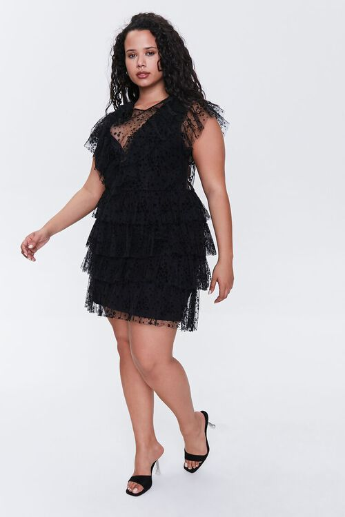 Plus Size Mesh Ruffle-Trim Dress, image 4
