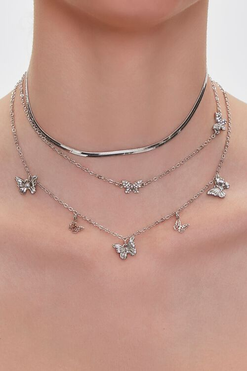 SILVER Butterfly Charm Layered Necklace, image 1