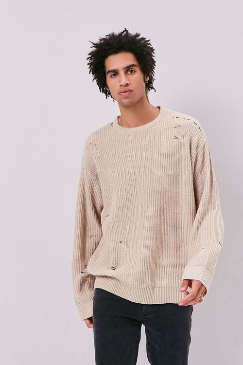 Distress Ribbed Knit Sweater, image 1