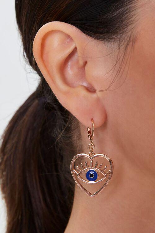 Eye Heart Pendant Drop Earrings, image 1