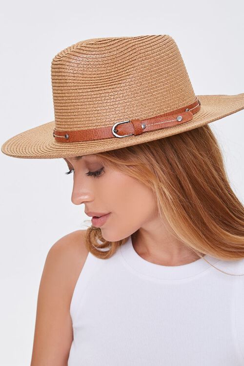 NATURAL/BROWN Faux Straw Buckled Fedora, image 1