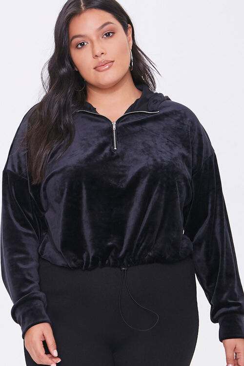 Plus Size Crushed Velvet Hoodie, image 1