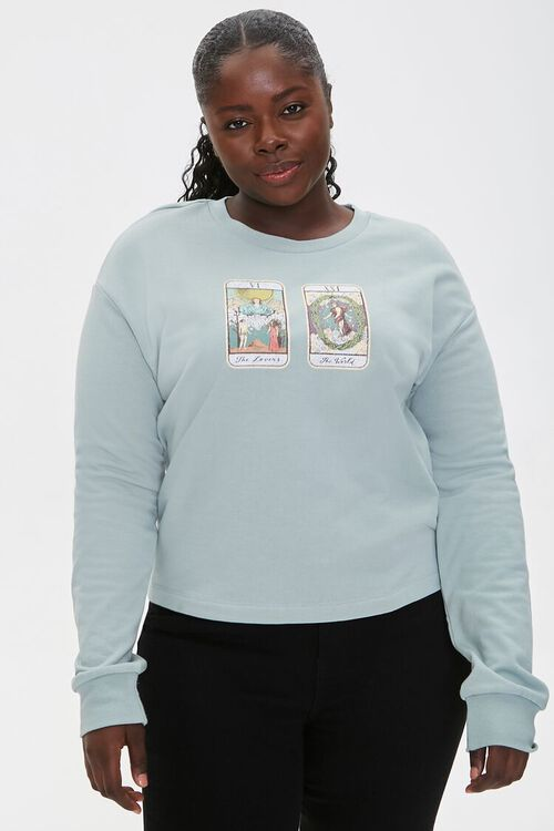 Plus Size Tarot Graphic Pullover, image 1