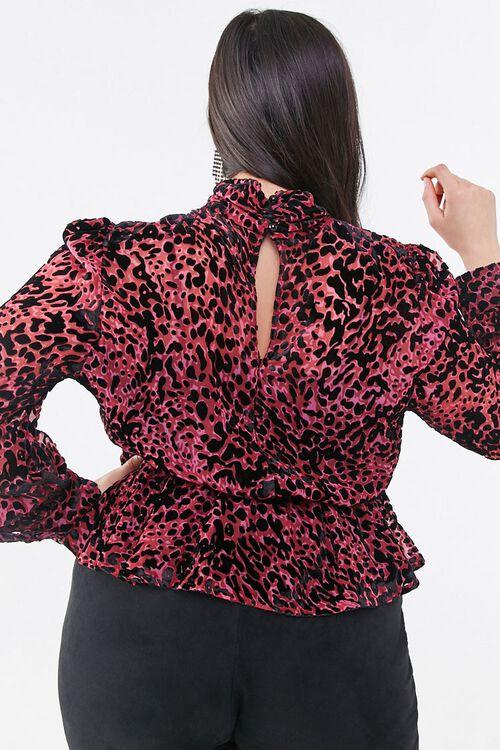 BERRY/BLACK Plus Size Sheer Flocked Velvet Top, image 3