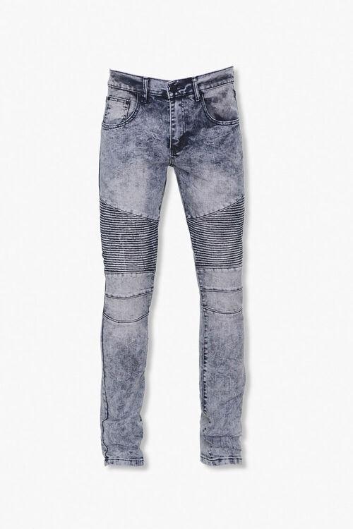 Reason Leaf-Print Yoke Moto Jeans, image 1
