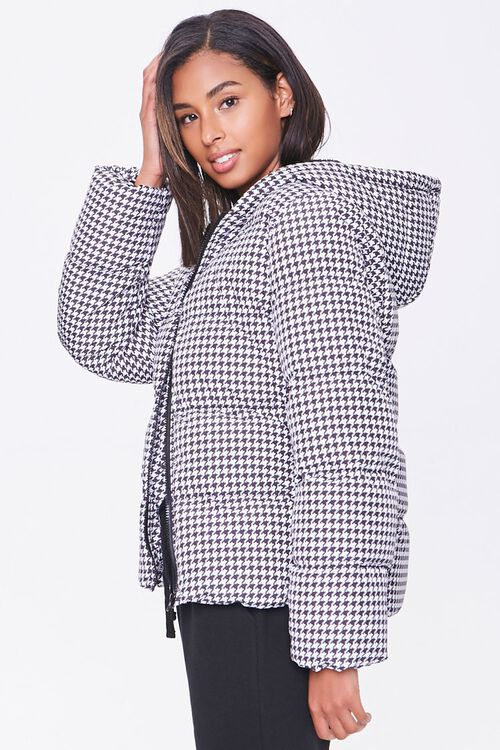 Hooded Houndstooth Puffer Jacket, image 2