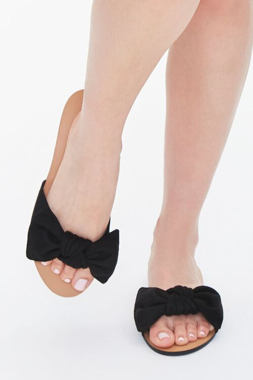 BLACK Faux Suede Bow Sandals (Wide), image 4