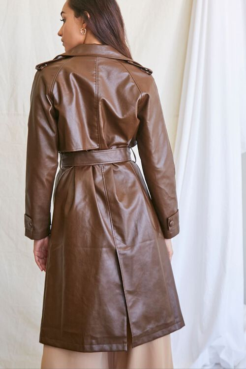 BROWN Faux Leather Trench Coat, image 3