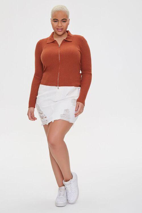 Plus Size Collared Zip-Up Cardigan, image 4