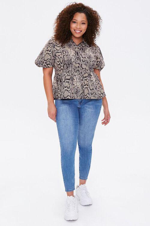 Plus Size Snakeskin Print Shirt, image 4
