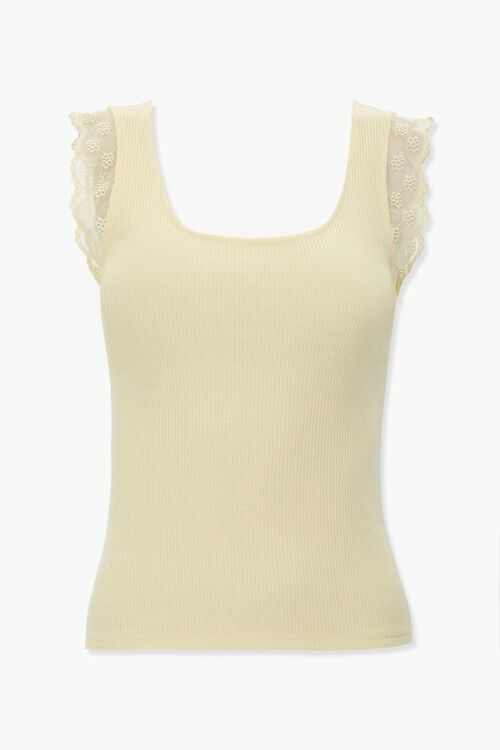 Lace-Trim Ribbed Tank Top, image 1