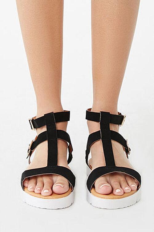 BLACK Strappy Faux Suede Sandals, image 2