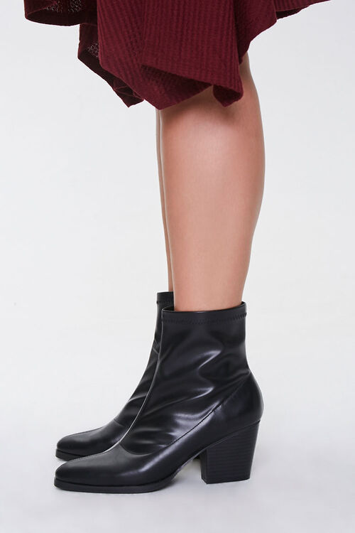 Faux Leather Pointed Booties (Wide), image 3