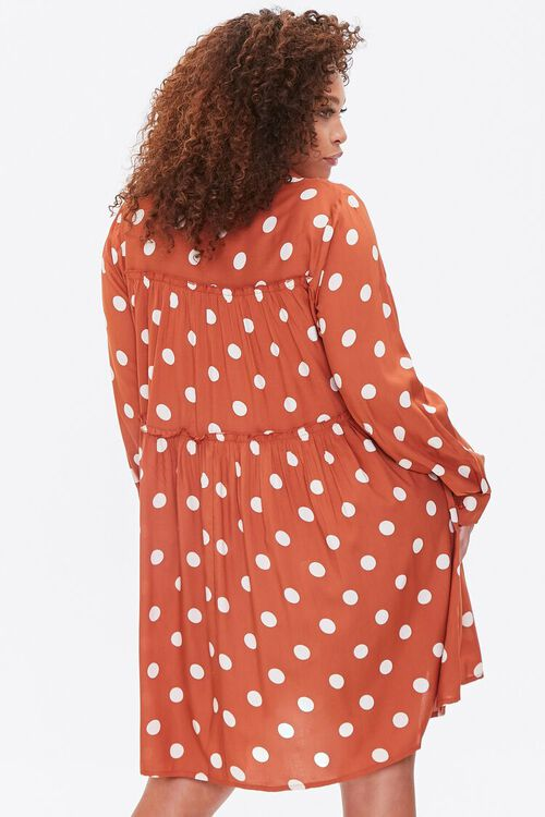 RUST/IVORY Plus Size Polka Dot Shirt Dress, image 3