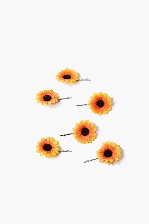 ORANGE/MULTI Sunflower Bobby Pin Set, image 1