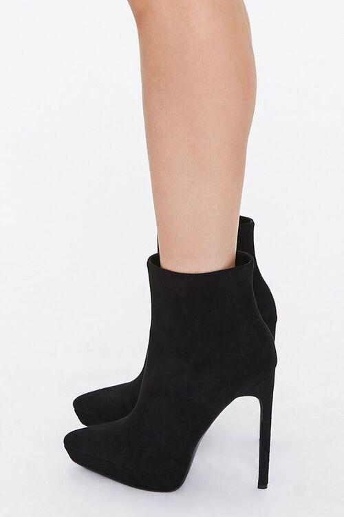 BLACK Faux Suede Stiletto Booties, image 2