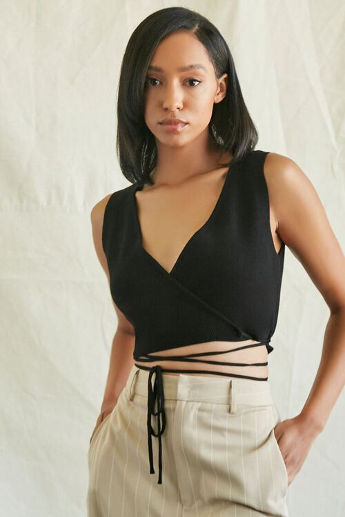 Sweater-Knit Wraparound Crop Top, image 1
