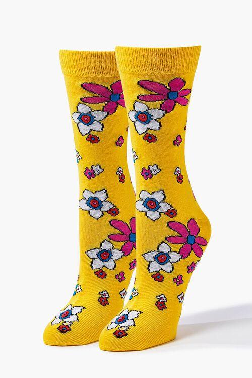Men Floral Print Crew Socks, image 1