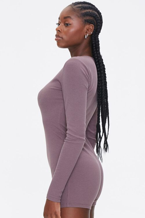 Ribbed Knit Long-Sleeve Romper, image 2