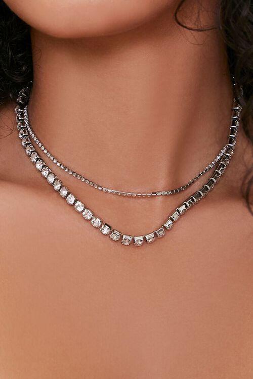 Rhinestone Box Chain Necklace Set, image 1