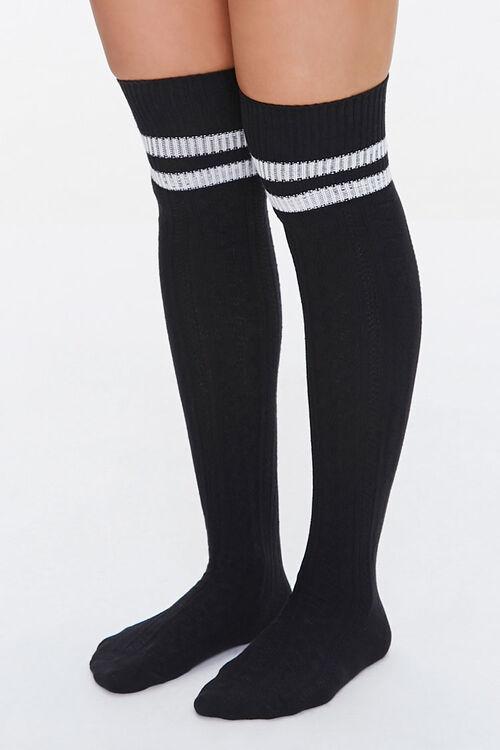 BLACK/WHITE Over-the-Knee Striped Socks, image 1