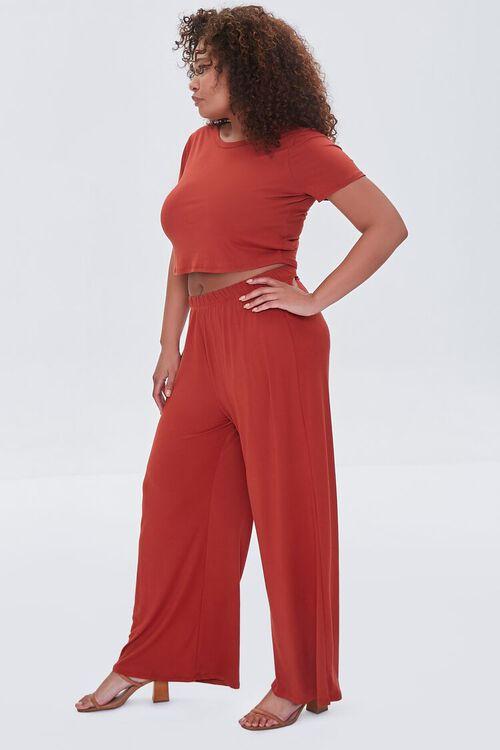 Plus Size Cropped Tee & Wide-Leg Pants Set, image 2