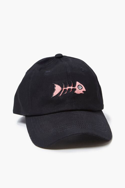 BLACK/PINK Fishbone Embroidered Graphic Dad Cap, image 1