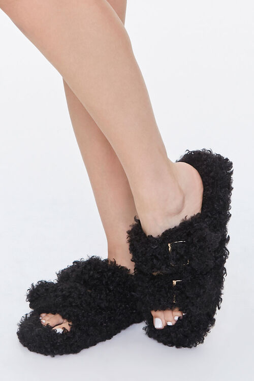 Faux Sheepskin Buckled Slippers, image 1