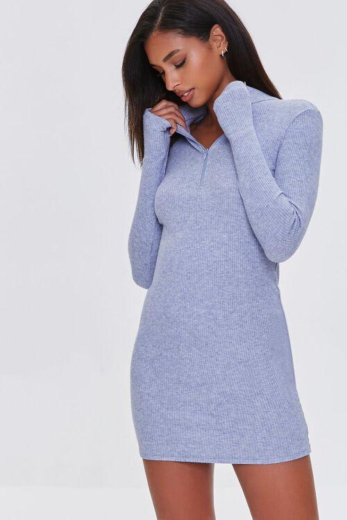 DUSTY BLUE Heathered Ribbed Knit Mini Dress, image 1