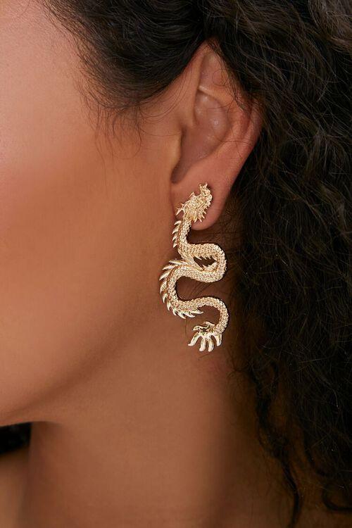 GOLD Dragon Pendant Drop Earrings, image 1