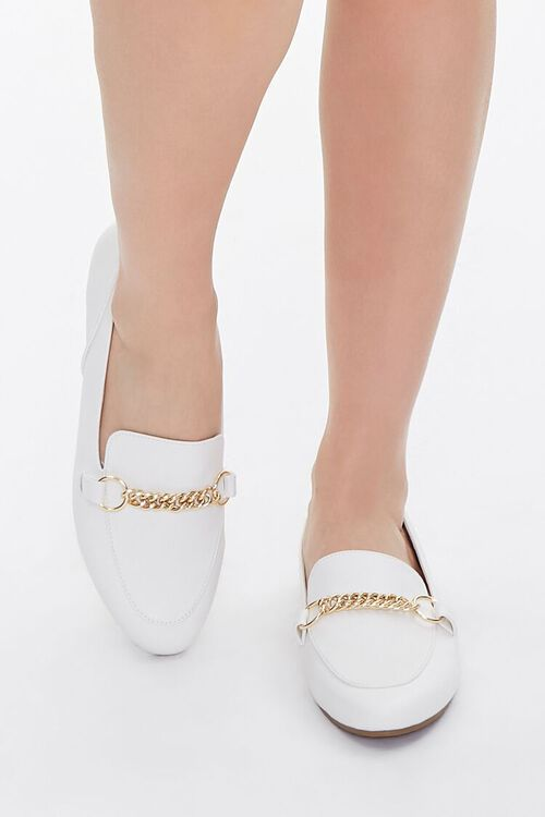 Faux Leather Chain-Strap Loafers, image 4
