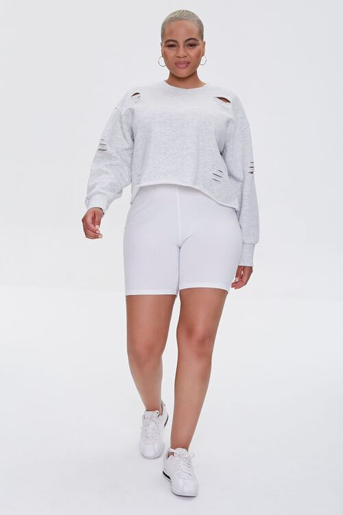Plus Size Heathered Distressed Pullover, image 5