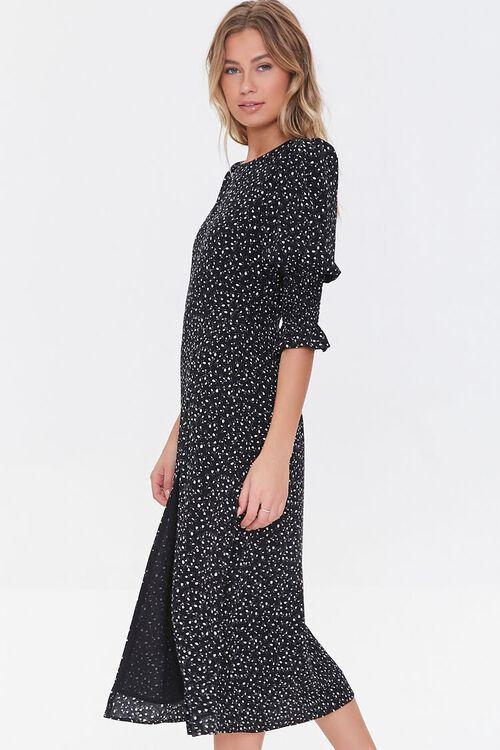 BLACK/CREAM Recycled Leaf Print Slit Dress, image 2