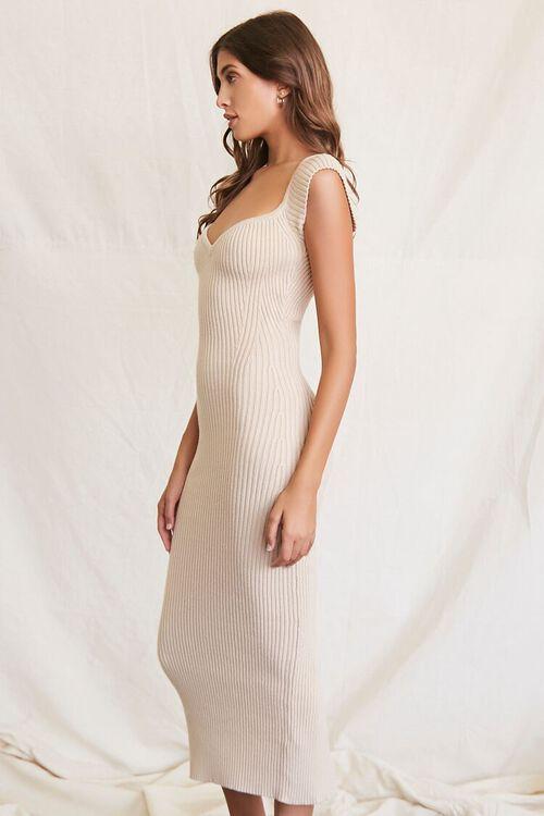 BEIGE Sweater-Knit Ribbed Midi Dress, image 2