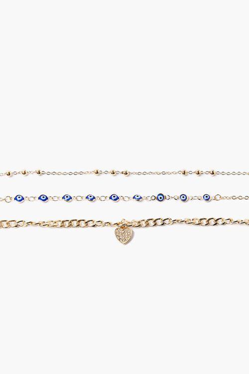 GOLD Heart & Eye Charm Bracelet Set, image 1