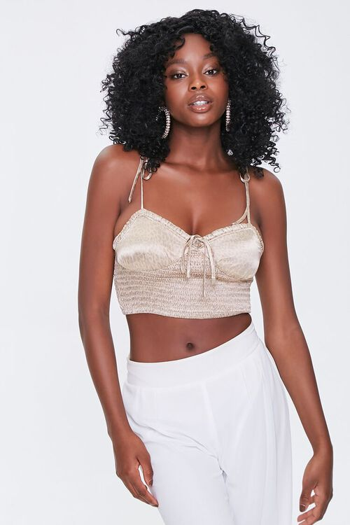 Smocked Self-Tie Cropped Cami, image 1