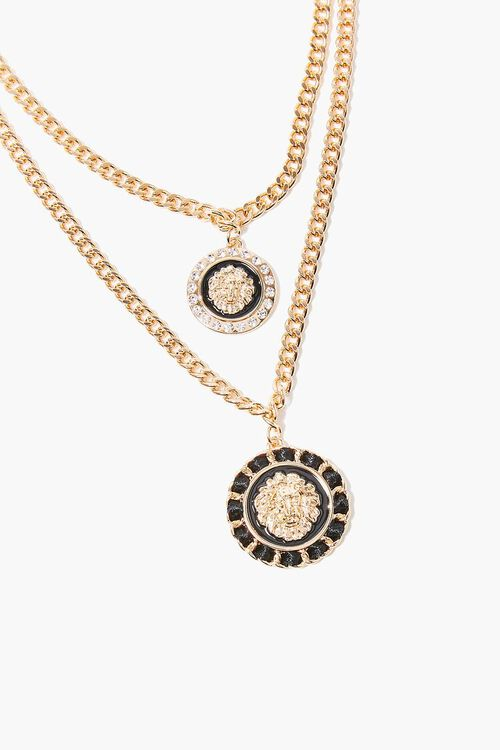 Ornate Lion Pendant Layered Necklace, image 1