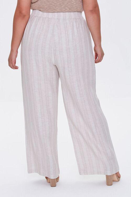 KHAKI/IVORY Plus Size Striped Linen Pants, image 4