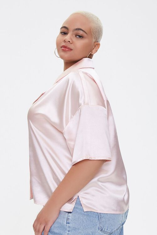 Plus Size Cropped Satin Shirt, image 2