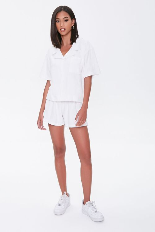Kendall & Kylie Terrycloth Notched Shirt, image 4