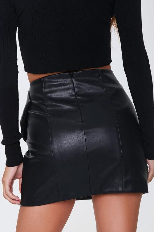 Faux Leather Bow Mini Skirt, image 3