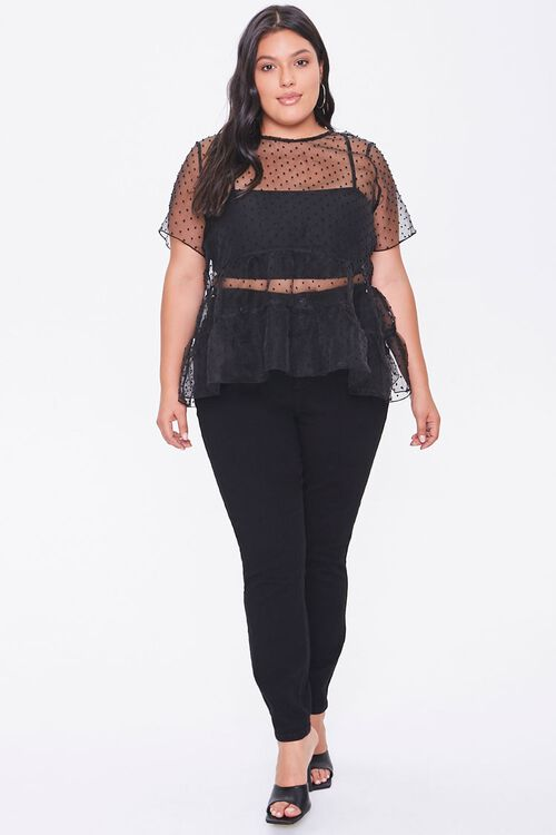 Plus Size Sheer Clip Dot Top, image 4