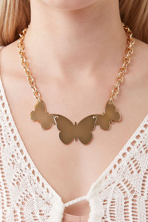 Butterfly Pendant Statement Necklace, image 1