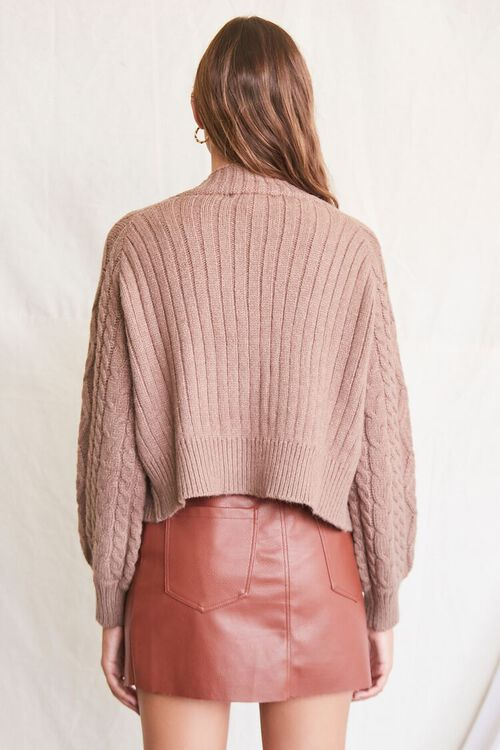 MOCHA Cable Knit Cardigan Sweater, image 3