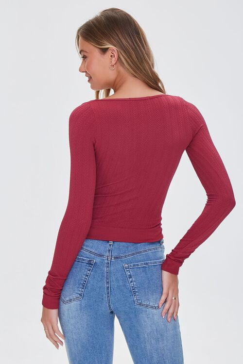 WINE Ribbed Knit Scoop Top, image 3