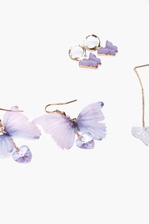 GOLD/PURPLE Butterfly Drop & Hoop Earrings Set, image 2